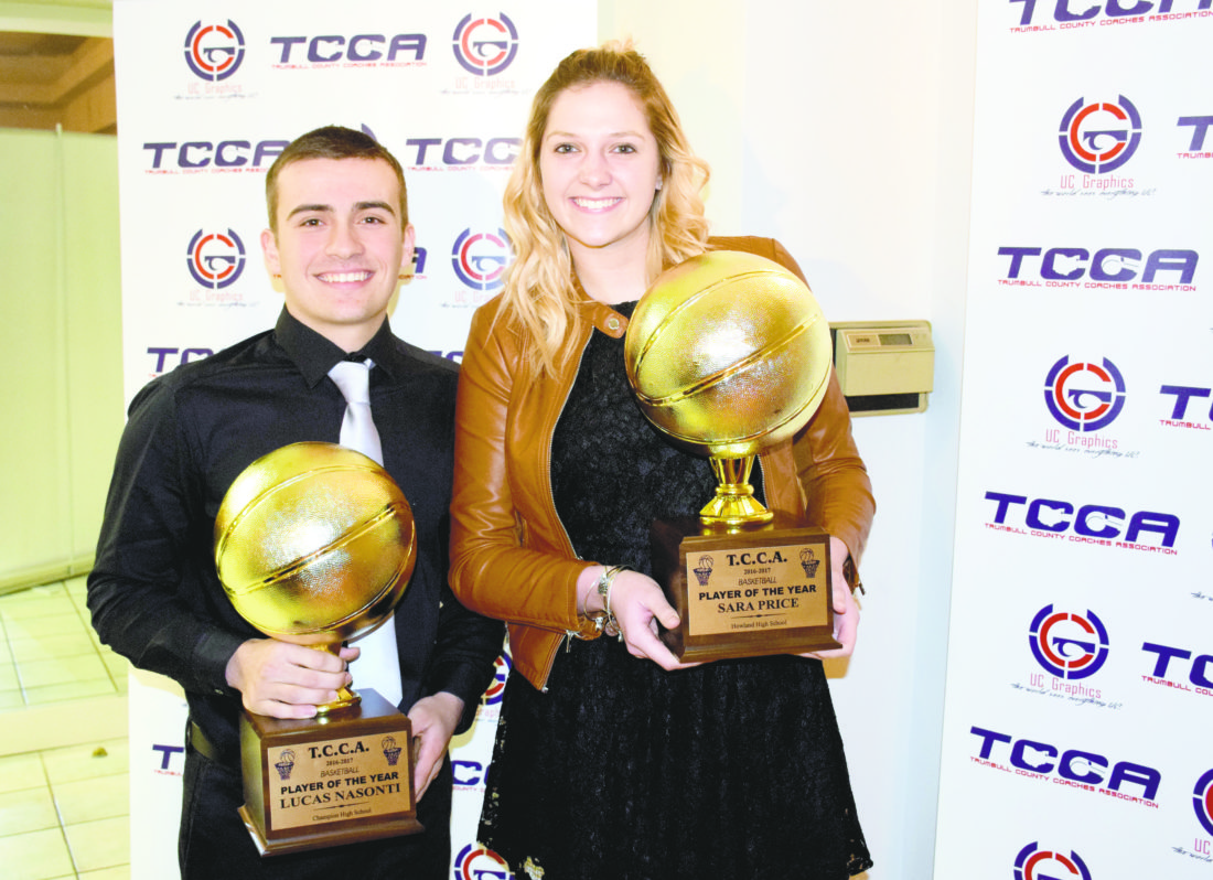 Tribune Chronicle / John Vargo Champion's Lucas Nasonti, left, and Howland's Sara Price, right, were named the Trumbull County Coaches Association's boys and girls players of the year on Monday at Leo's Ristorante.