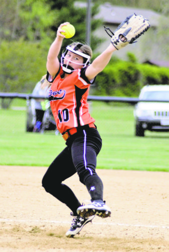 Tribune Chronicle / Bob Ettinger Newton Falls hurler Tara Backherms fires a pitch against LaBrae in All-American Conference play at Newton Falls on Tuesday evening. The Tigers beat LaBrae, 8-4.