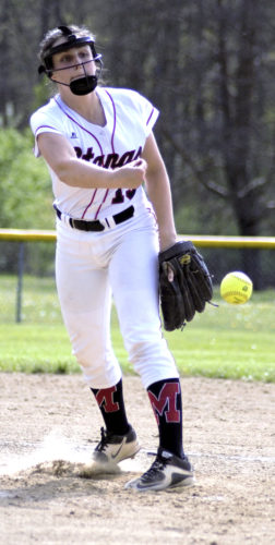 Tribune Chronicle / Bob Ettinger Mathews pitcher Nicole Watts fires a pitch against Maplewood in Northeastern Athletic Conference play at Maplewood Middle School on Wednesday.