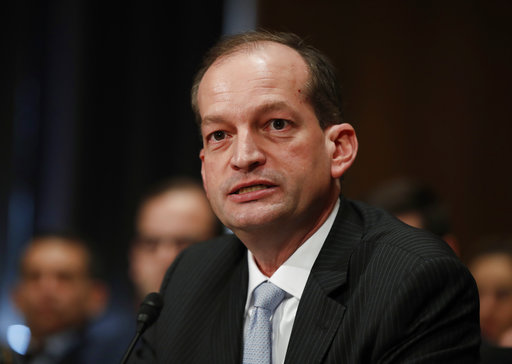 FILE - In this March 22, 2017 file photo, Labor secretary-designate Alexander Acosta testifies on Capitol Hill in Washington. The Senate is poised to confirm Acosta as President Donald Trump's secretary of labor. The vote expected Thursday, April 27, 2017, would make Acosta the only Hispanic in the Cabinet and complete Trump's Cabinet as he approaches the 100-day mark of his presidency. (AP Photo/Manuel Balce Ceneta, File)