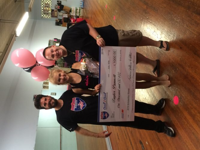 SCHOLARSHIP AWARDED — Taylor Pannett, center, received a $1,000 dance scholarship from Coast 2 Coast Dance Across America Inc., presented by Louie Perez, left, and Jimmy Lyles, right. -- Contributed