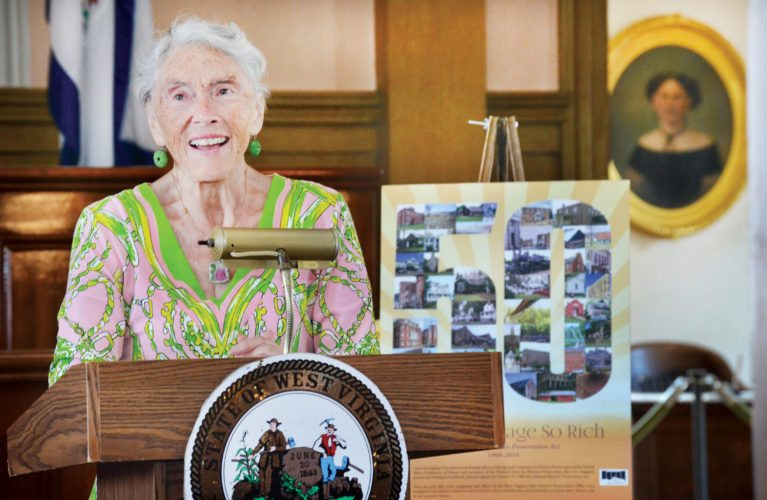 "WORK RECOGNIZED — Betty Woods ""Snookie"" Nutting of Wheeling speaks Friday of her efforts to preserve 22 historic buildings in the city. A lecture series at West Virginia Independence Hall is named in Nutting's honor. -- Scott McCloskey"