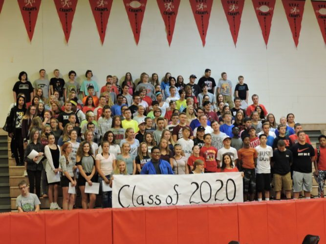 THE FUTURE IS CLEAR — The Weir High School Class of 2020 posed for a group portrait during orientation at the high school Wednesday. -- Summer Wallace-Minger