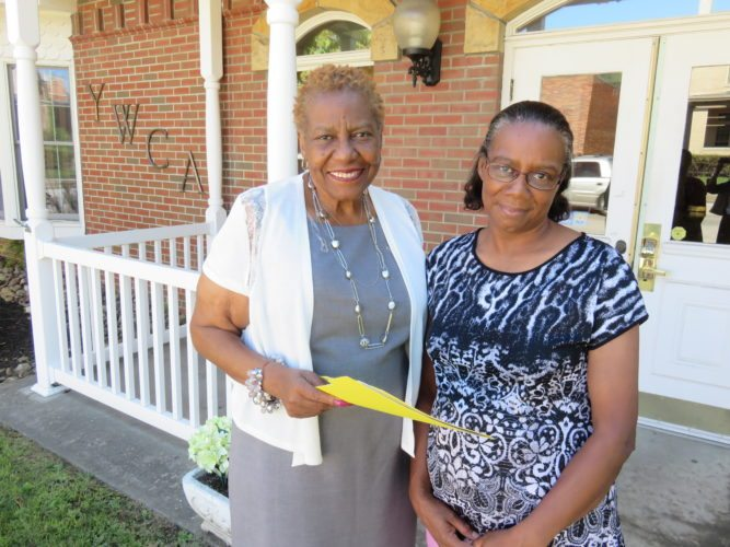 "REACHING OUT — Sophie Spencer, left, executive director of the YWCA of Steubenville, and Bernadine White of Steubenville, a grandmother raising two grandchildren, look forward to a new support group the YWCA is organizing. It's called ""Parenting the Second Time Around."" -- Janice Kiaski"