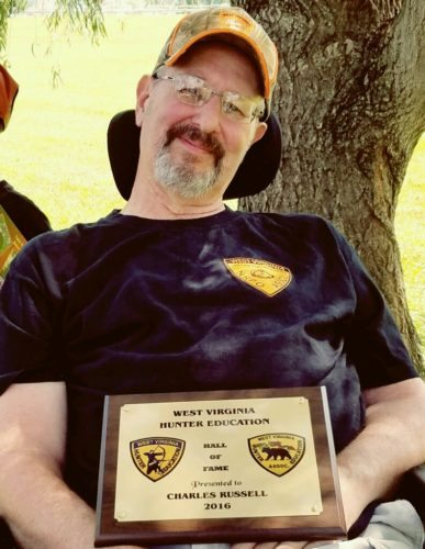 HONOREDFORSERVICE — Charlie Russell of Follansbee was inducted to the West Virginia Division of Natural Resource's Hunter Education Hall of Fame for his 26 years of service as a volunteer hunter education instructor. Russell, who died on July 23, also was active as a bow and firearms safety instructor. -- Contributed
