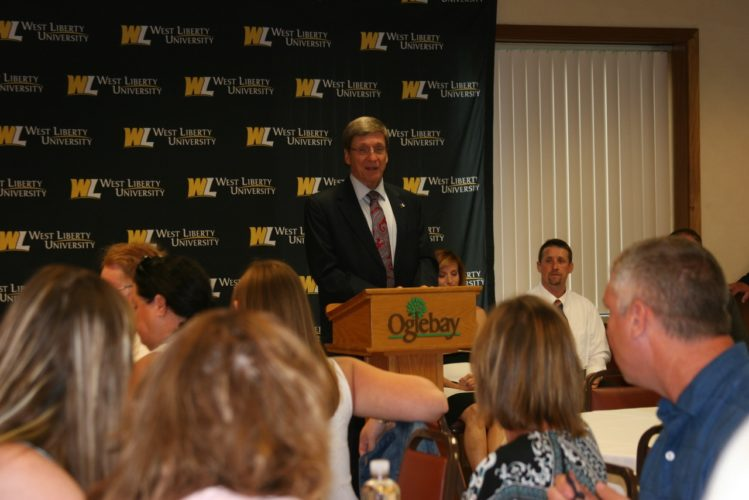 WELCOME — Stephen Greiner, president of West Liberty University, speaks during a welcome dinner for the 23 students comprising the university's inaugural class of zoo science majors. The program, operated through the auspices of West Liberty's science department, features a collaboration between the university and Oglebay's Good Zoo. -- Contributed