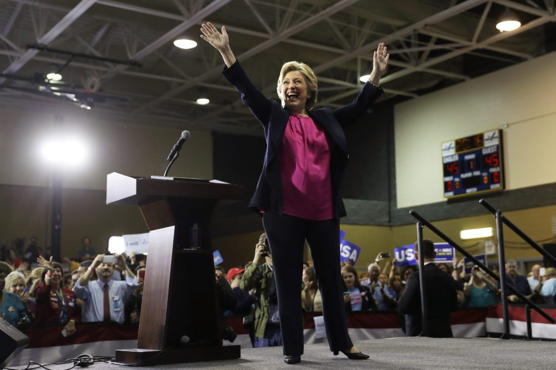 Democratic presidential candidate Hillary Clinton waves to attendees during a campaign stop at Wake Technical Community College in Raleigh, N.C., Tuesday, Sept. 27, 2016. (AP Photo/Matt Rourke)