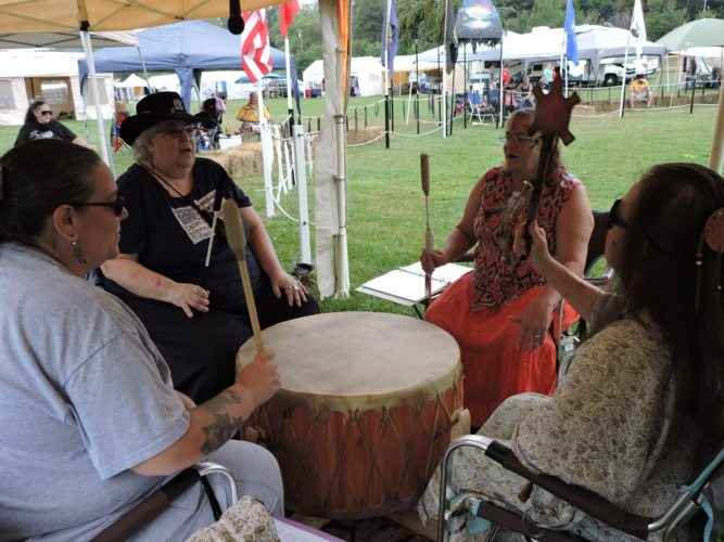 DRUM CEREMONY — The Shawnee Heart Drum performs at the Red Eagle Powwow Sept. 17 at Heritage Park in McDonald. The powwow is held annually and several drums and dancers are invited to perform.