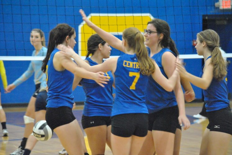 UPHIGH — Members of the Catholic Central volleyball team celebrate a point scored against Frontier in a sectional final at the Mickey Barber Gymnasium. The Crusaders beat the Cougars in four sets. (Matthew Peaslee)