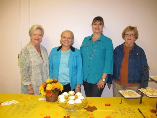 OCTOBER HOSTS — Sapphire Sister Donna Bohach, left, Shirley Washam, second from left, Michelle Bernardi, second from right, and Pat Long, right were the October meeting hosts for the Alpha Tau Chapter. -- Contributed