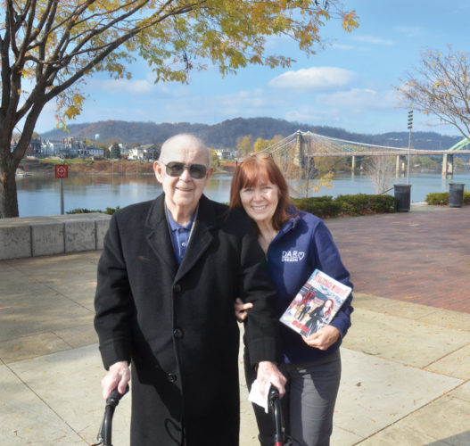 ZANE DREAM — Howard Worley, 93, of Oregon, fulfills a dream by visiting Wheeling, one of the sites associated with Revolutionary War heroine Betty Zane. With him is his daughter, Rebecca Demarino. -- Scott McCloskey