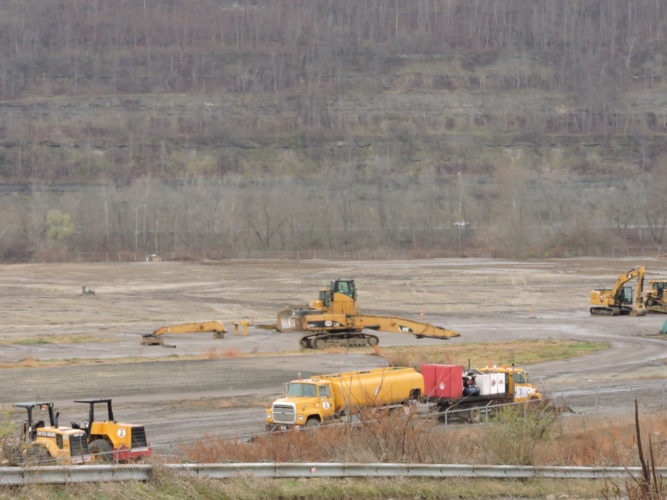 POWER PLANT CLEARED — Approximately eight months ago, FirstEnergy's R.E. Burger Plant stood prominently along the Ohio River. Today, the site is cleared for development of the PTT Global Chemical America ethane cracker. -- Casey Junkins