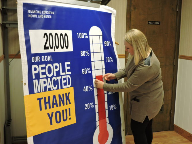 UPDATING THE CAMPAIGN — United Way of Jefferson County Executive Director Kate Sedgmer updated the campaign goal thermometer at the United Way offices. Sedgmer said the 2017 campaign is now at the 52 percent mark. -- Dave Gossett