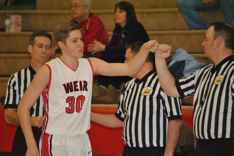 Weir's Matt Anderson is introduced before the game against Oak Glen. (Matthew Peaslee)