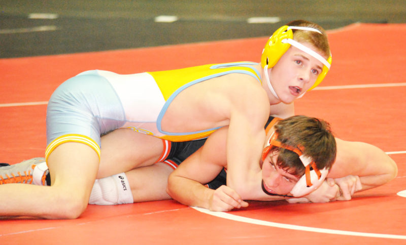 Oak Glen freshman Peyton Hall won the crown at 120 during Saturday's OVAC Ron Mauck Wrestling Tournament at WesBanco Arena. (Matthew Peaslee)