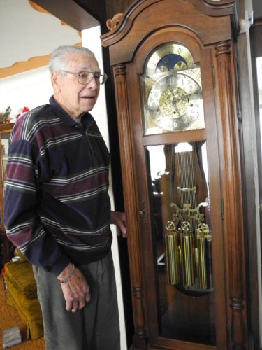 Raymond Fox has a treasure in the vestibule of his Weirton home — a walnut grandfather clock he built through his own ingenuity, steadfastness, love of making things and as a 44th anniversary gift for his wife, Ruth. It sometimes fails in its operation now and he is looking for someone to tell him how to fix it. His friend, Bob Cattrell, who would look after the clock, has died.   — Esther McCoy