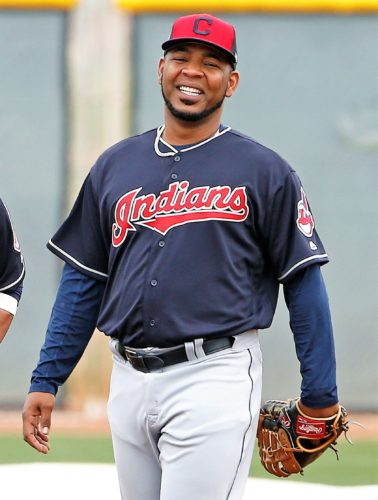 Cleveland Indians' Edwin Encarnacion, right, and Carlos Santana, left, laugh at the team's baseball spring training facility Sunday, Feb. 19, 2017, in Goodyear, Ariz. (AP Photo/Ross D. Franklin)