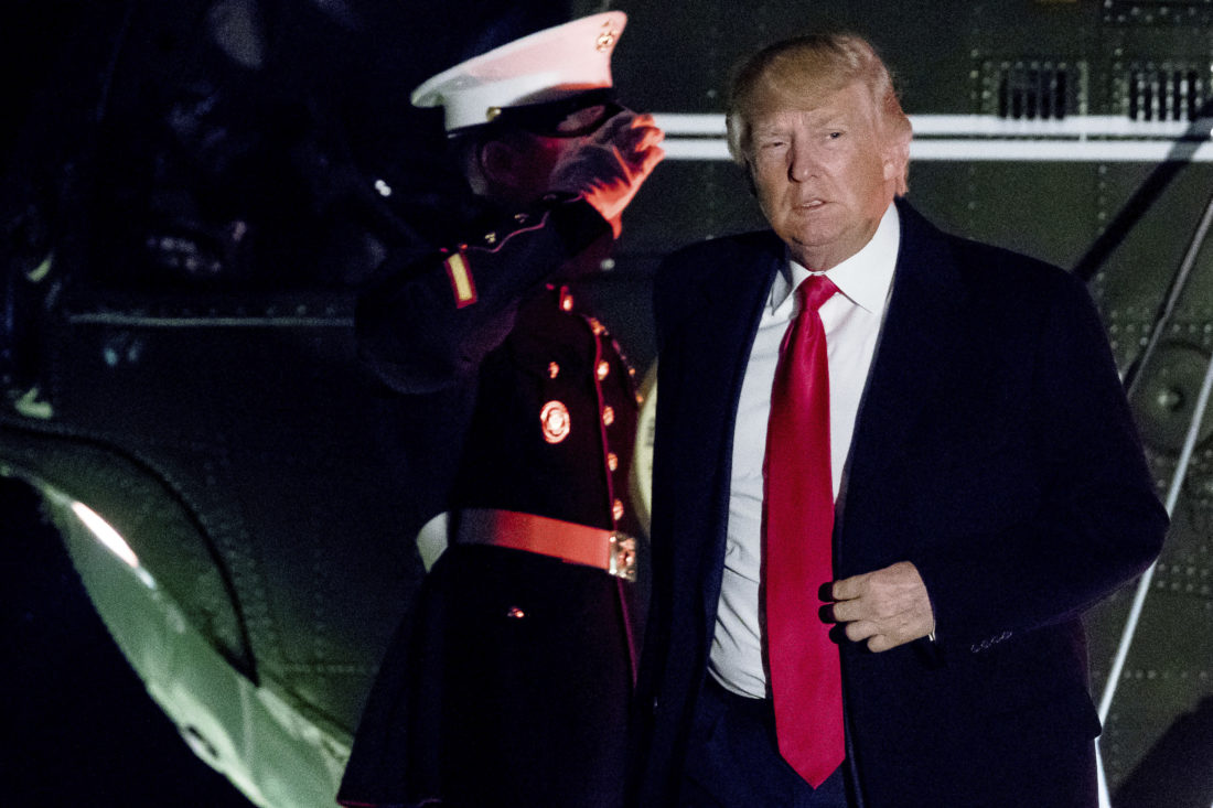 WELCOME HOME — President Donald Trump arrives at the White House in Washington, Monday. Trump returned from Palm Beach, Fla., on Monday after spending three weekends in a row at his Mara-a-Lago estate. -- Associated Press