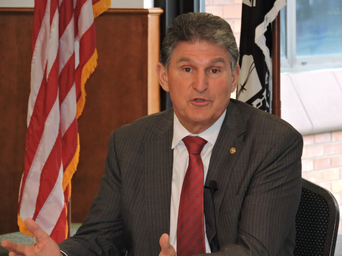 STOPS IN WEIRTON — U.S. Sen. Joe Manchin, D-W.Va., addressed a group of local business and government leaders gathered at the Millsop Community Center in Weirton Thursday for a townhall discussion on a variety of issues, including health care, development and immigration. -- Craig Howell