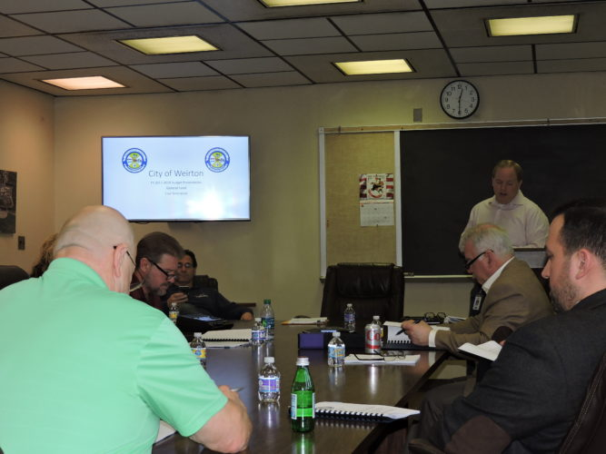 BUDGET PLANNING — City Manager Travis Blosser addresses members of council Friday during a work session to lay out the general fund and coal severance budgets for the 2017-2018 fiscal year, which will begin July 1. Council is scheduled to vote on the budget during its March meeting.  -- Craig Howell