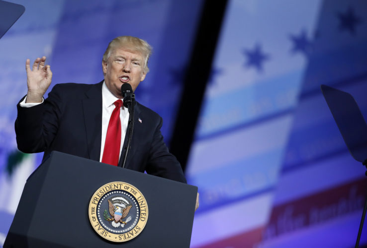 CONSERVATIVE TALK — President Donald Trump speaks at the Conservative Political Action Conference, Friday, in Oxon Hill, Md. -- Associated Press