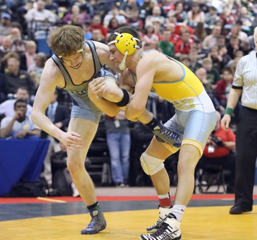 Photo courtesy of Action Images MAKING HISTORY — Oak Glen senior Robert Bozek defeated Frankfort's Austin Pumphrey for the 138-pound championship at the West Virginia State Wrestling Tournament Saturday in Huntington. It was Bozek's third state title, being the fifth Golden Bears wrestler to do so.