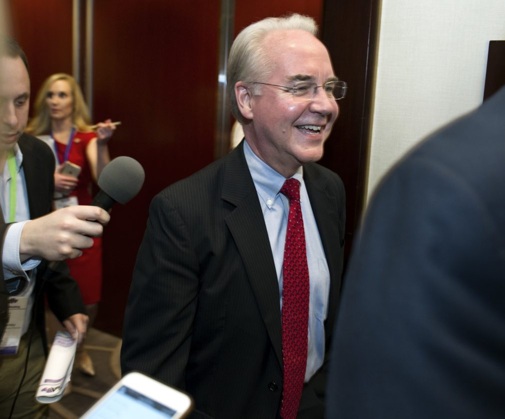 TREADING CAREFULLY — Health and Human Services Secretary Tom Price is followed by reporters as he leaves a health care meeting during the National Governors Association Winter Meeting in Washington, Saturday. A consulting report warns of state money fallout from a health law repeal. -- Associated Press