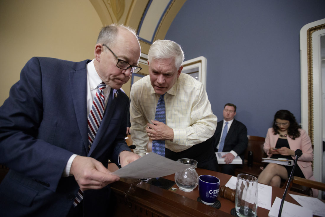 DEBATE ABOUT DEBATE — House Energy and Commerce Committee Chairman Rep. Greg Walden, R-Ore., left, confers with House Rules Committee Chairman Rep. Pete Sessions, R-Texas on Capitol Hill in Washington, Wednesday, during a meeting to shape the final version of the Republican health care bill before it goes to the floor for debate and a vote. -- Associated Press