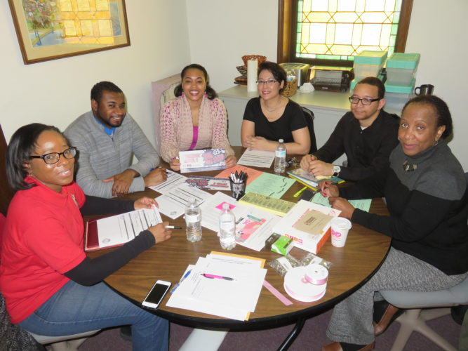 OBSERVANCE PLANNERS — This year's local observance of Minority Health Month in April includes events sponsored and planned by members of the Neighborhood Community Development Center of Urban Mission Ministries and funded by a state grant provided through the Ohio Commission on Minority Health with some events funded locally through sponsorships and donations. Committee members at a March planning meeting included, clockwise, from left, Virginia Whatley, Jalil Harvey, coordinator Cynthia Lytle, Michelle Hada, Trey Jeter and Sharon Kirtdoll. Other committee members are Sandi Rue, Jacqueline Gibson, Zhane' McBride, Calene Dougherty and the Rev. Ashley Steele, the mission's executive director. -- Janice Kiaski