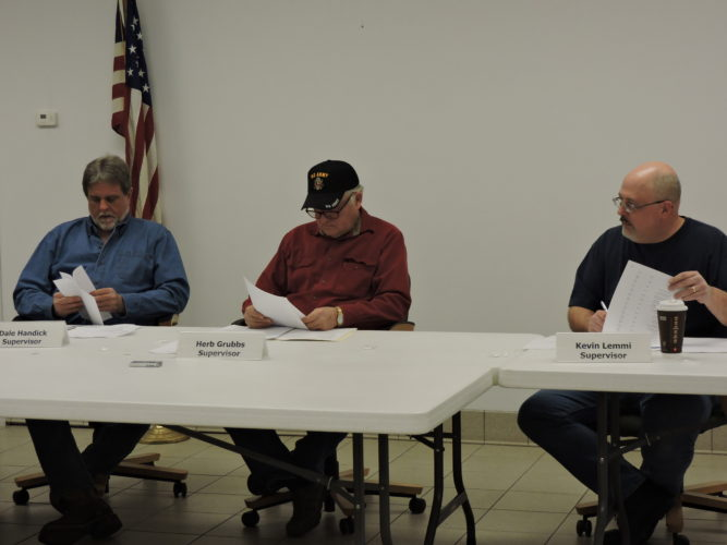 SUPERVISORS MEET — The Hanover Township Supervisors, from left, Dale Handick, Herbert Grubs and Kevin Lemmi, met March 16 for the regularly monthly meeting. -- Summer Wallace-Minger