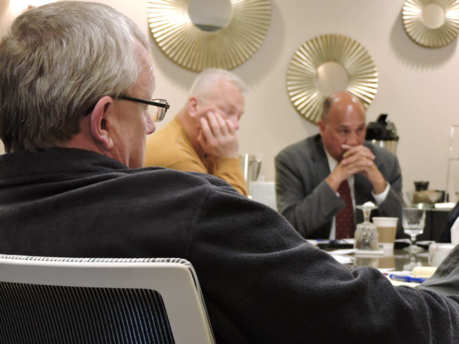 DISCUSSING CITY ISSUES —  City Council members met with City Manager Jim Mavromatis and his department heads Wednesday afternoon to discuss a variety of issues during a nearly five-hour-long workshop session at the Inn at Franciscan Square. Mavromatis said he is planning a second workshop for council to discuss code enforcement in the city. -- Dave Gossett