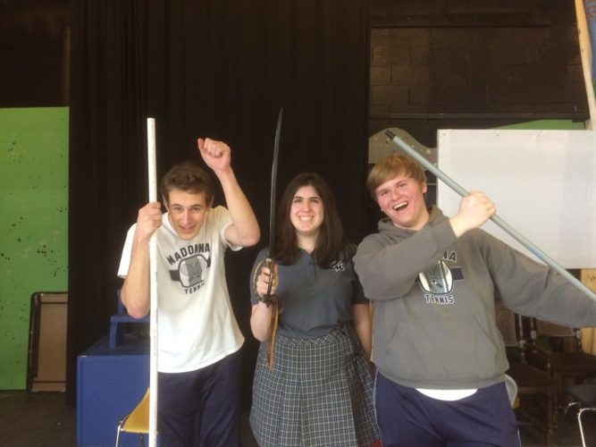 "ADVENTURE AWAITS — Vincent Fournier, from left, Megan Guida and Chad Durante prepare for Weirton Madonna High School's upcoming production of ""Man of La Mancha"" slated Friday through Sunday at the high school. -- Contributed"