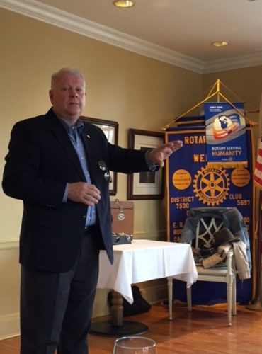 GUEST SPEAKER — Jeff Sandy, Department of Military Affairs and Public Safety cabinet secretary, spoke at the March 15 Weirton Rotary Club meeting. -- Contributed