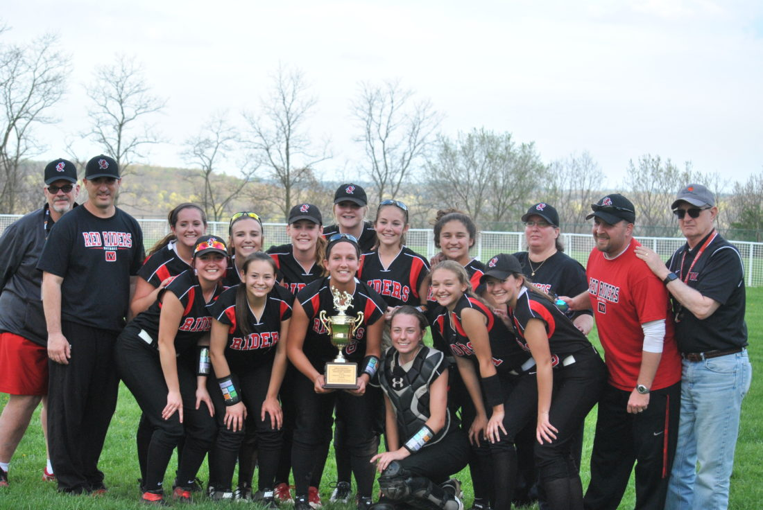 CITY CHAMPS — Members of the Weir High softball team pose after defeating Madonna in the city championship game on Thursday at Weir High School. The Red Riders beat the Blue Dons, 2-0. (Matthew Peaslee)