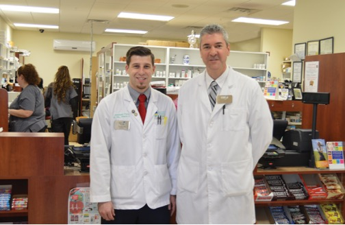 Pharmacists Jonathan Paris, left, and Curt Virtue, who's also the owner of the Value Leader Pharmacy in Wintersville, are planning a free health fair for May at the Prime Time Center on Lovers Lane. — Contributed