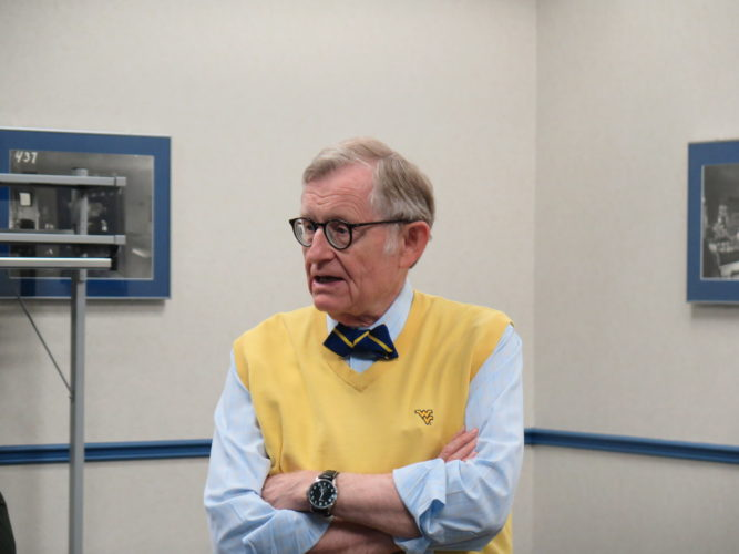 GEE VIEW — West Virginia University President Gordon Gee speaks to journalists attending WVU's Academic Media Day in Morgantown Monday.  -- Joselyn King